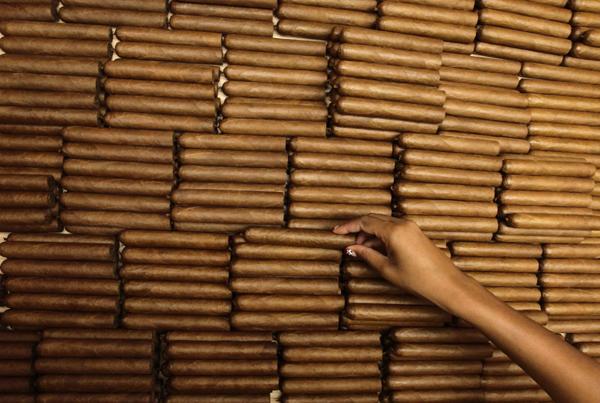A woman sorts cigars at the Cohiba cigar factory 'El Laguito' in Havana