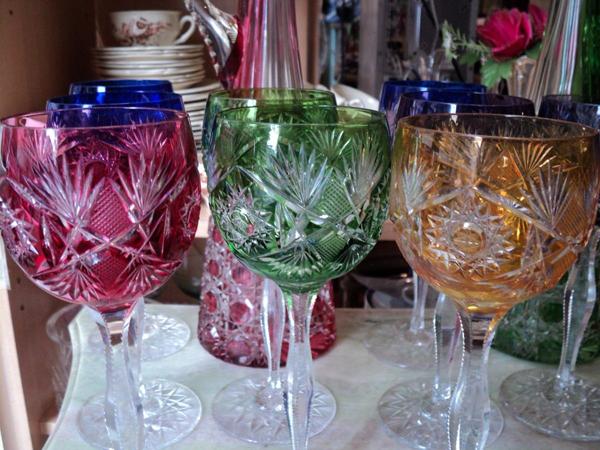 10 Copas Cristal Baccarat De Color Vastago Tallado
