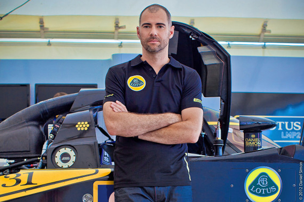 Designer Daniel Simon with the Lotus LMP 2. Sebring, Florida. 20