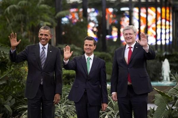 Enrique Peña Nieto, Barack Obama y Stephen Harper