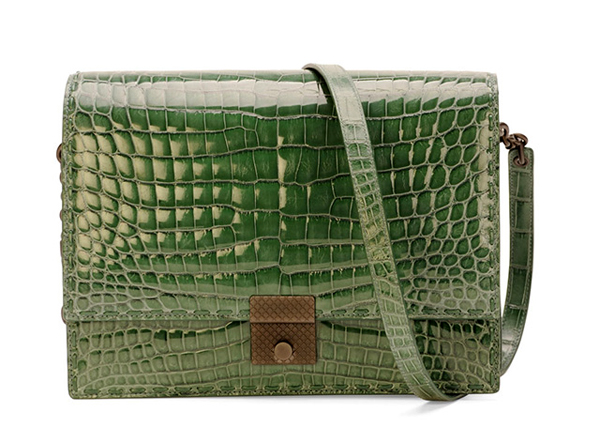 Bottega-Veneta-Crocodile-Top-Flap-Accordian-Shoulder-Bag