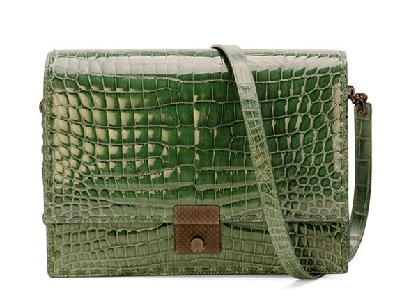 Bottega-Veneta-Crocodile-Top-Flap-Accordian-Shoulder-Bag
