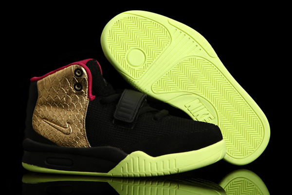 High-Top-Kids-Nike-West-Air-Yeezy-2-Shoes-Black-Golden-Shoes