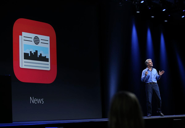 SAN FRANCISCO, CA - JUNE 08:  Craig Federighi, Apple senior vice president of Software Engineering, speaks about the News app during Apple WWDC on June 8, 2015 in San Francisco, California. Apple annouced a new OS X, El Capitan, and  iOS 9 during the keynote at the annual developers conference that runs through June 12.  (Photo by Justin Sullivan/Getty Images)