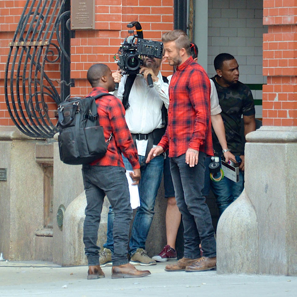 David Beckham and Kevin Hart spotted hugging at a H&M commercial filming in New York City. Pictured: David Beckham and Kevin Hart Ref: SPL1069273  050715   Picture by: Gachie / Splash News Splash News and Pictures Los Angeles:310-821-2666 New York:212-619-2666 London:870-934-2666 photodesk@splashnews.com