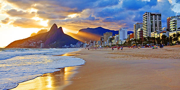 Ipanema beach with spectacular mountain called