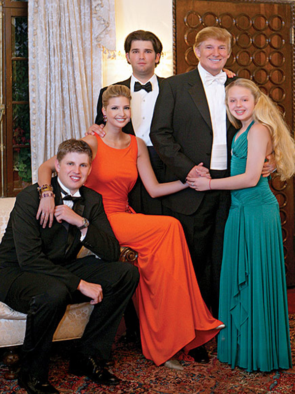 Real estate mogul Donald Trump with his children (from left) Eric, Ivanka, Donald Jr., & Tiffany at Trump's wedding to model Melania Knauss, at Episcopal Church of Bethesda-by-the-Sea in PALM BEACH, Fla. on Jan 22, 2005.