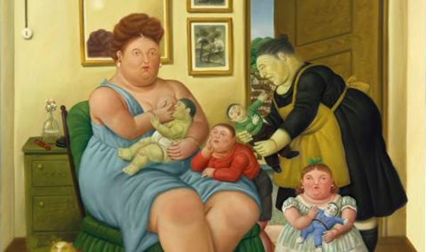 "This undated photo provided by Christie's Images Ltd. 2016, shows a painting entitled ""A Family"" by Fernando Botero. The painting will go up on the block at Christie's in New York on Tuesday, Nov. 22, 2016, as part of their Latin-American Art Sale. (Christie's Images Ltd. 2016 via AP)"