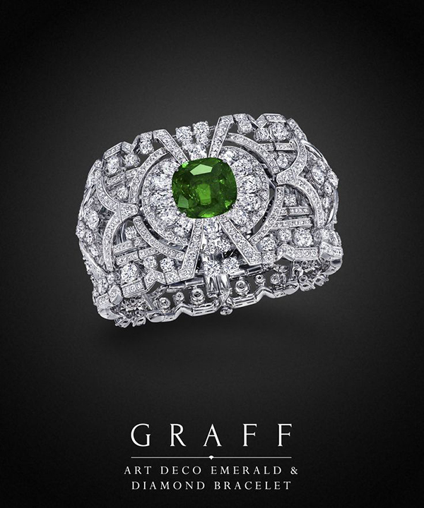 Graff Diamonds Art Deco Emerald & Diamond Bracelet